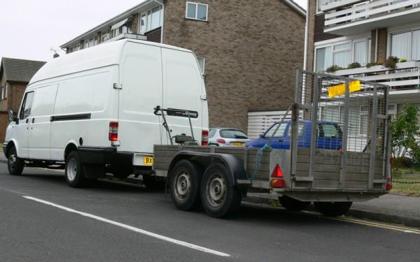 Van towing trailer