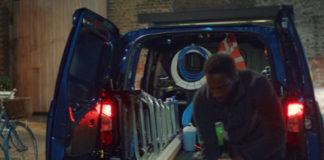 Unloading van in London street